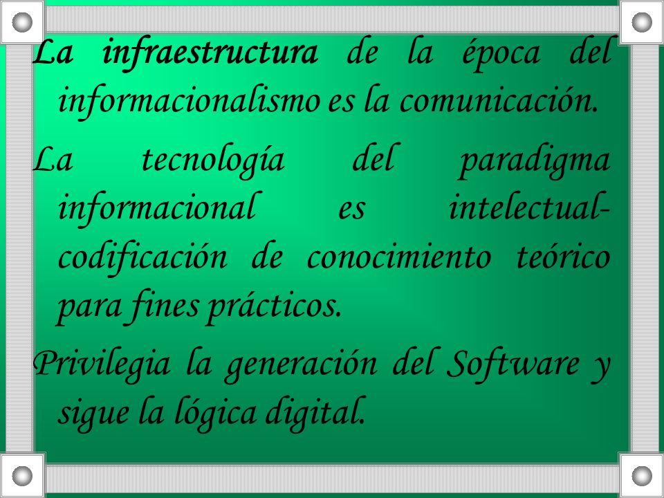 La infraestructura de la época del informacionalismo es la comunicación.
