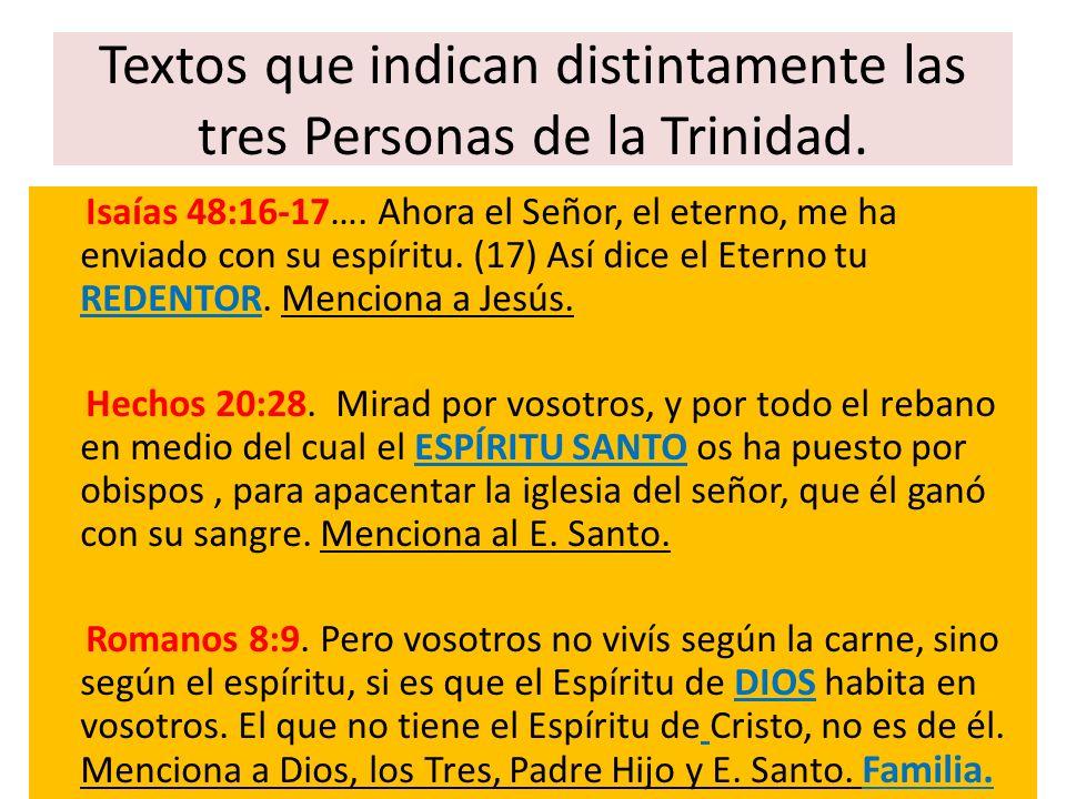 Textos que indican distintamente las tres Personas de la Trinidad.