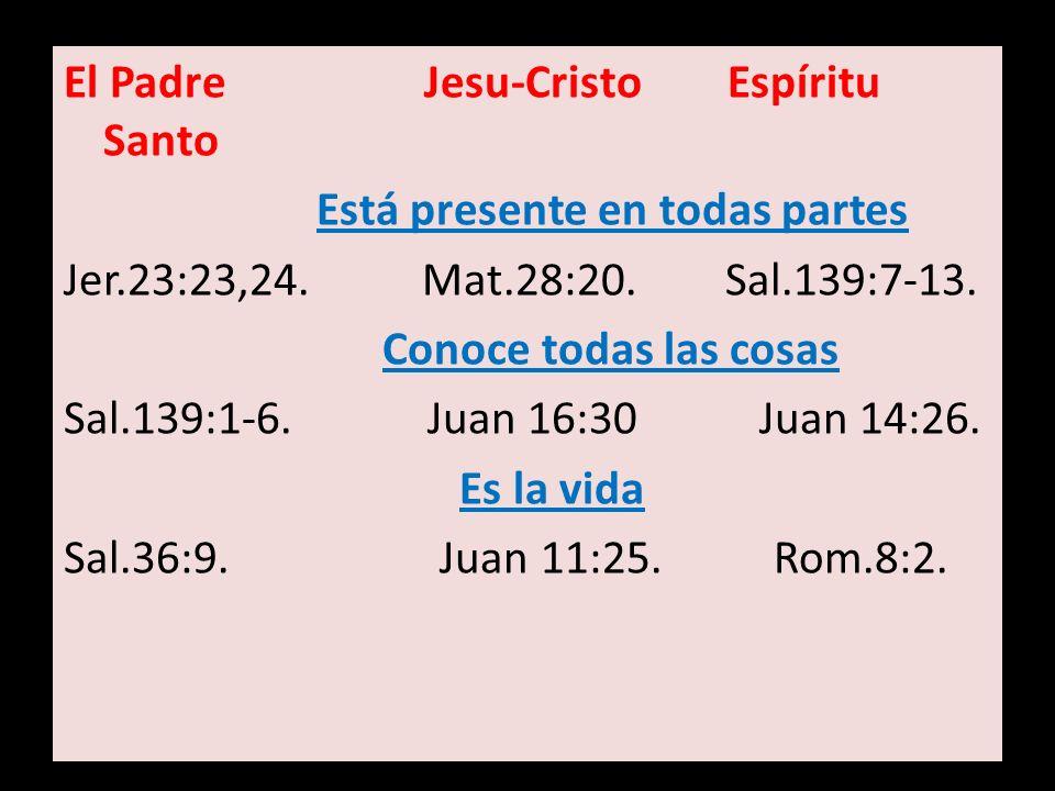 El Padre Jesu-Cristo Espíritu Santo Está presente en todas partes Jer