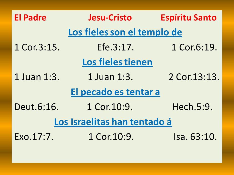 Los fieles son el templo de 1 Cor.3:15. Efe.3:17. 1 Cor.6:19.