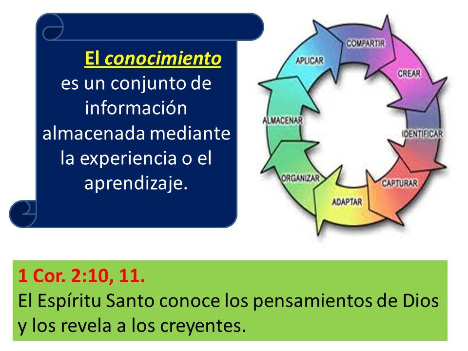 El conocimiento es un conjunto de información almacenada mediante la experiencia o el aprendizaje.
