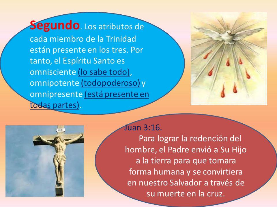 Segundo. Los atributos de cada miembro de la Trinidad están presente en los tres. Por tanto, el Espíritu Santo es omnisciente (lo sabe todo), omnipotente (todopoderoso) y omnipresente (está presente en todas partes).