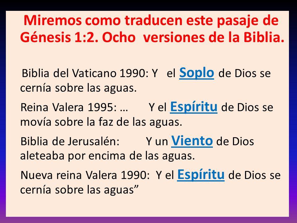 Miremos como traducen este pasaje de Génesis 1:2