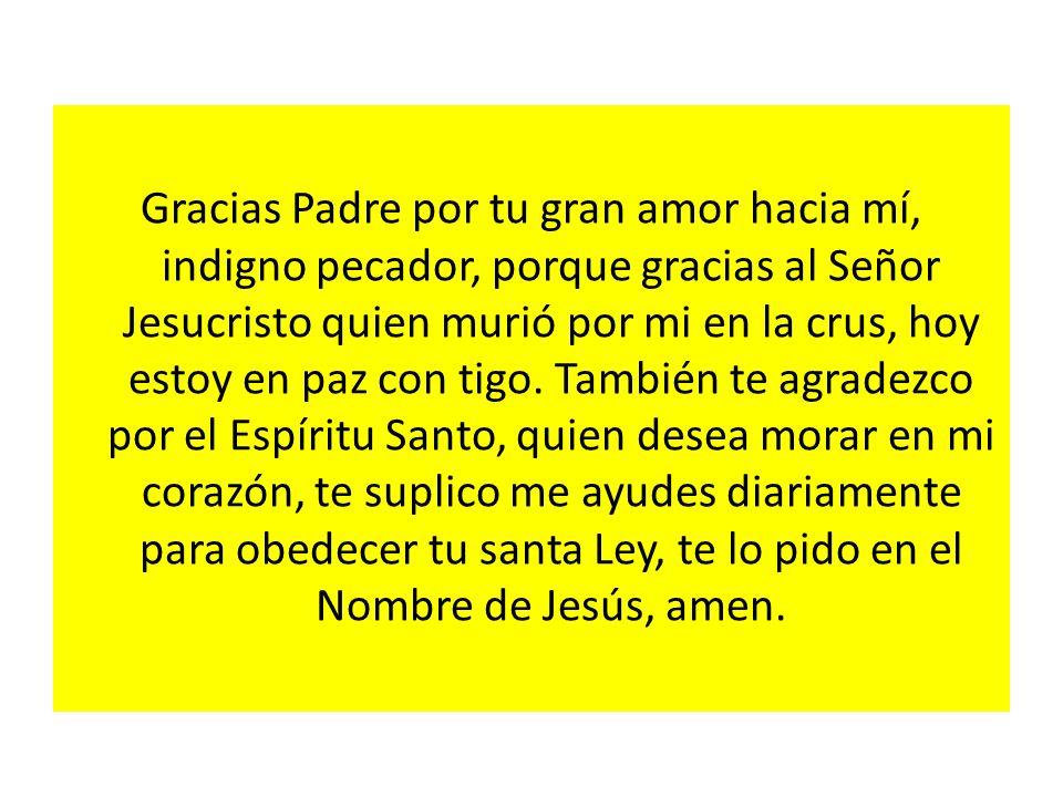 Gracias Padre por tu gran amor hacia mí, indigno pecador, porque gracias al Señor Jesucristo quien murió por mi en la crus, hoy estoy en paz con tigo.