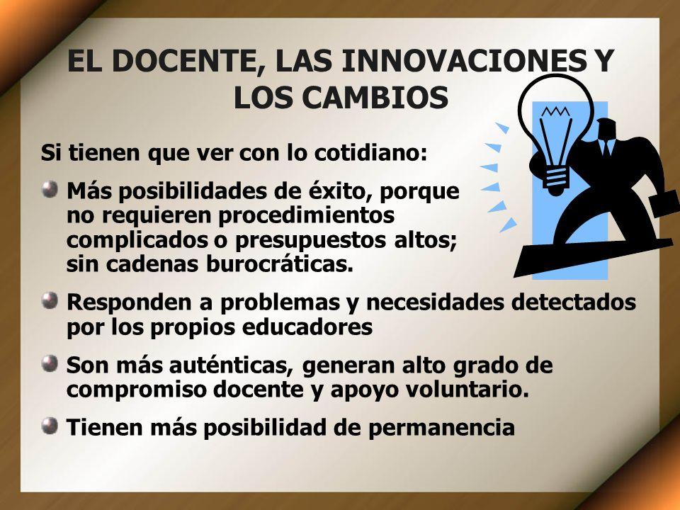 EL DOCENTE, LAS INNOVACIONES Y LOS CAMBIOS