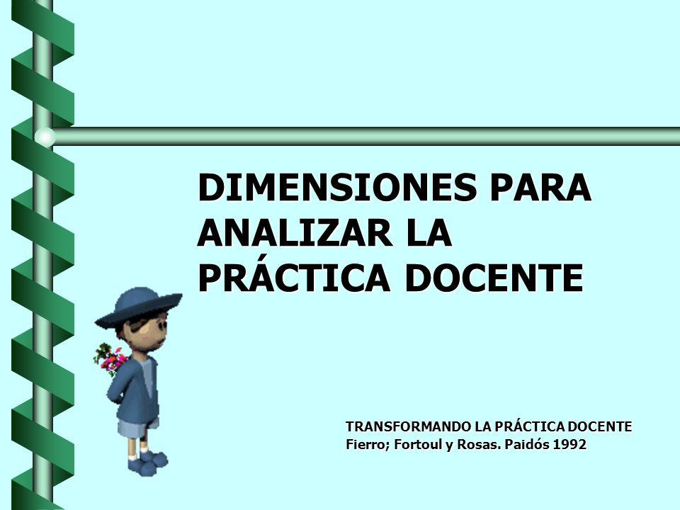 DIMENSIONES PARA ANALIZAR LA PRÁCTICA DOCENTE