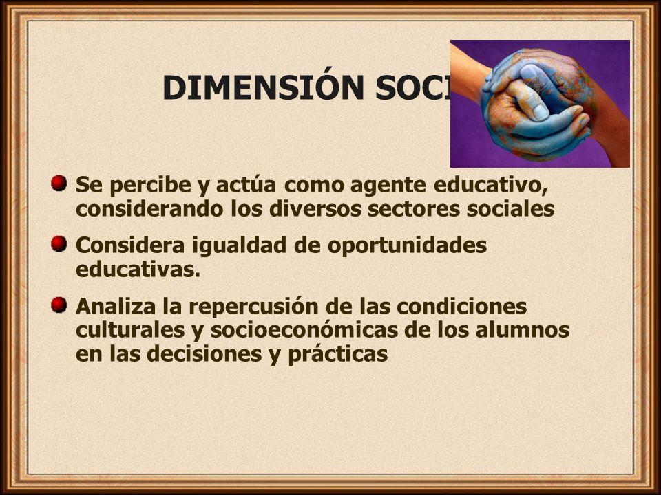 DIMENSIÓN SOCIAL Se percibe y actúa como agente educativo, considerando los diversos sectores sociales.