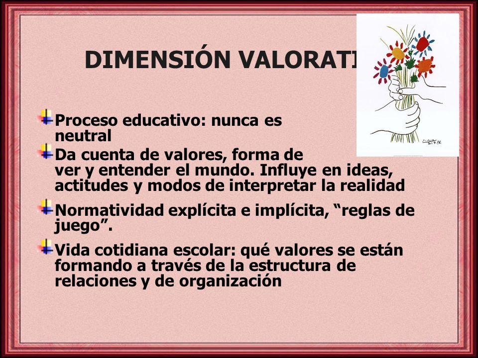 DIMENSIÓN VALORATIVA Proceso educativo: nunca es neutral