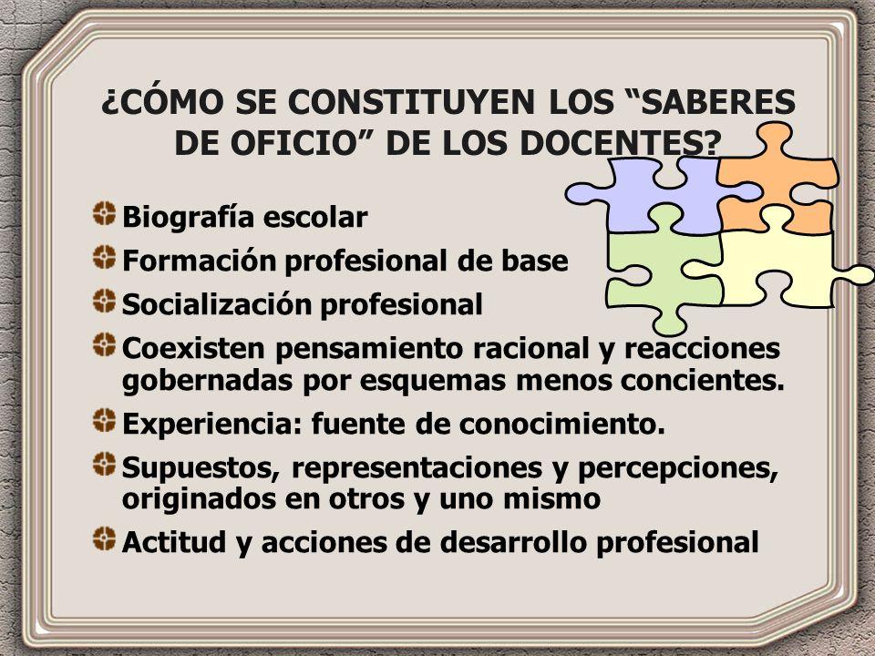 ¿CÓMO SE CONSTITUYEN LOS SABERES DE OFICIO DE LOS DOCENTES