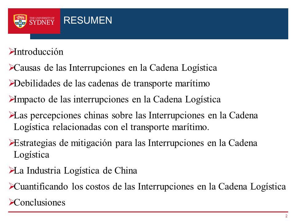 RESUMEN Introducción. Causas de las Interrupciones en la Cadena Logística. Debilidades de las cadenas de transporte marítimo.