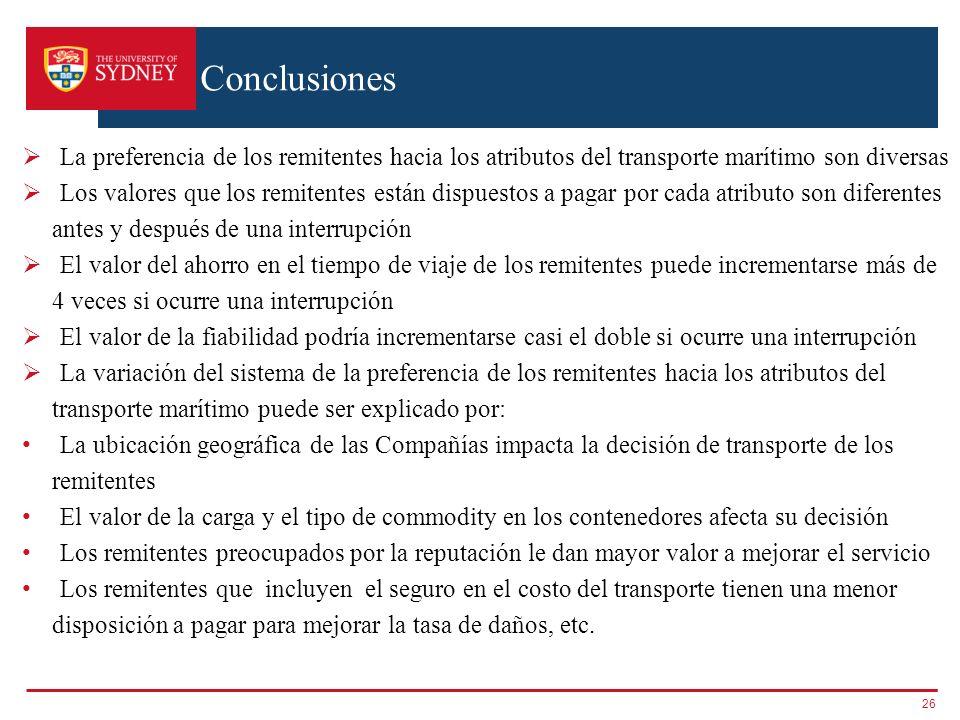 Conclusiones La preferencia de los remitentes hacia los atributos del transporte marítimo son diversas.