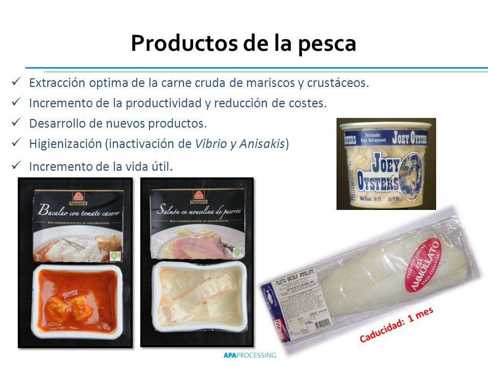 Productos de la pescaExtracción optima de la carne cruda de mariscos y crustáceos. Incremento de la productividad y reducción de costes.