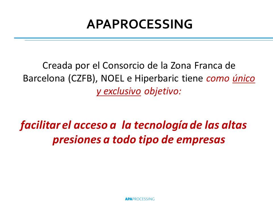 APAPROCESSINGCreada por el Consorcio de la Zona Franca de Barcelona (CZFB), NOEL e Hiperbaric tiene como único y exclusivo objetivo: