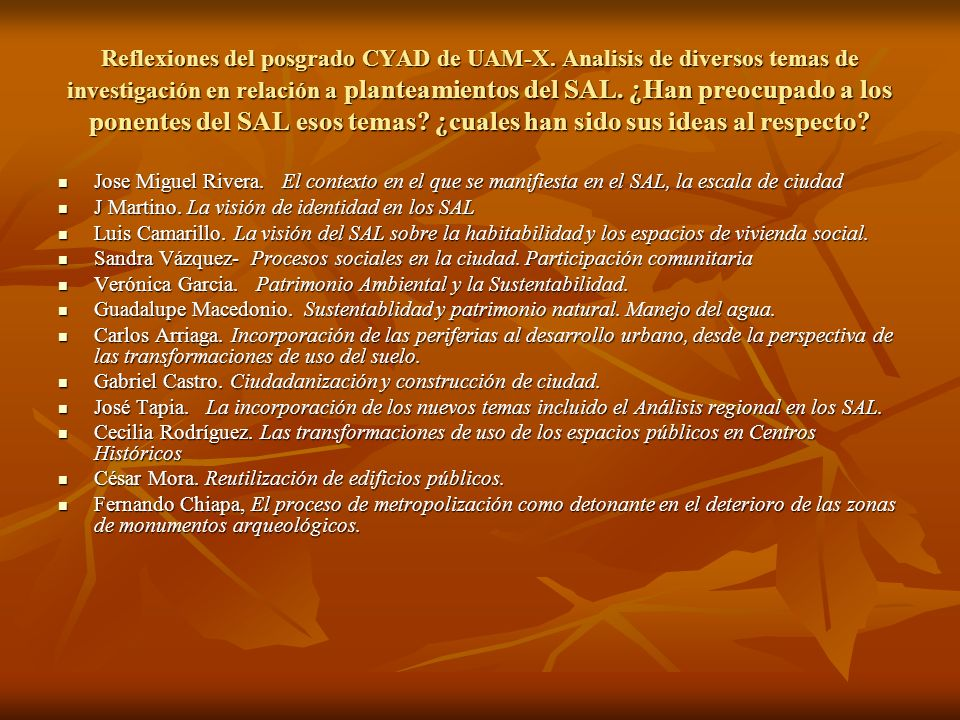 Reflexiones del posgrado CYAD de UAM-X