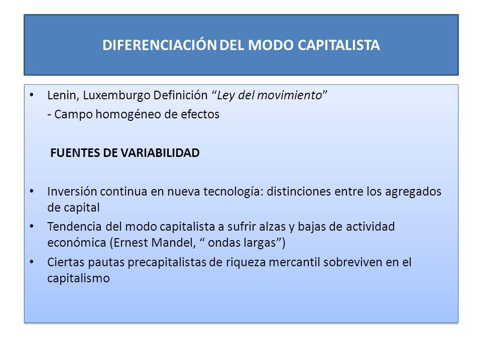 DIFERENCIACIÓN DEL MODO CAPITALISTA