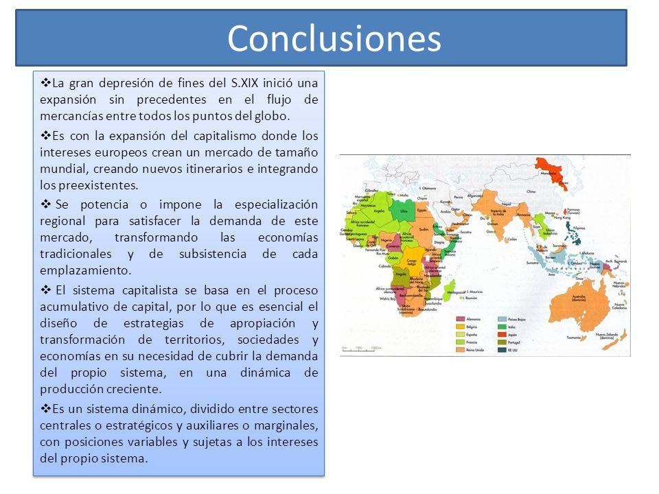 Conclusiones La gran depresión de fines del S.XIX inició una expansión sin precedentes en el flujo de mercancías entre todos los puntos del globo.