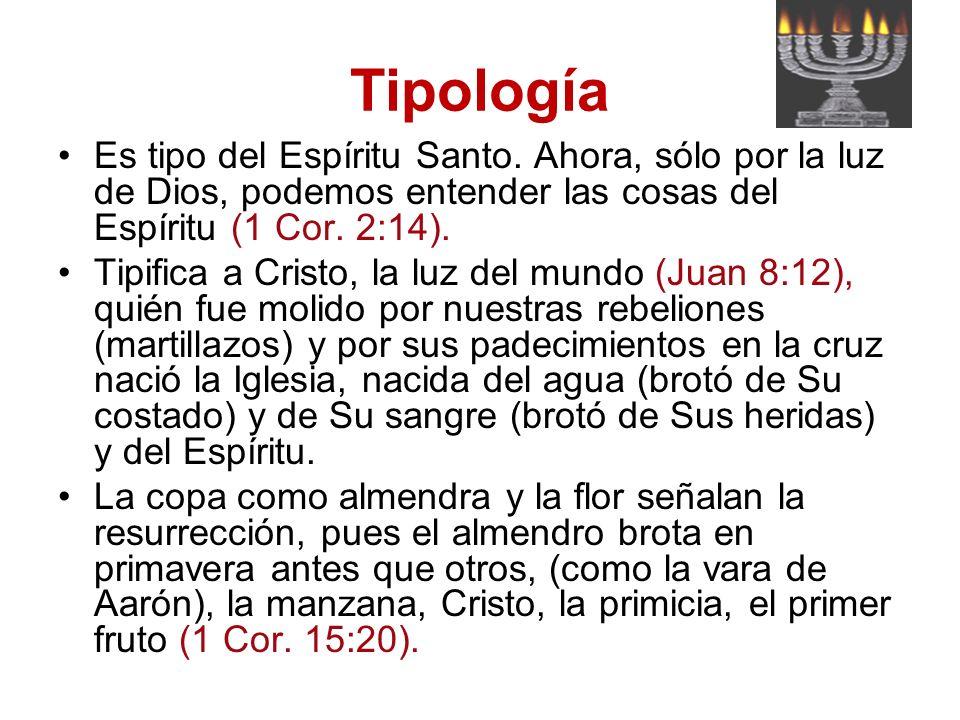 Tipología Es tipo del Espíritu Santo. Ahora, sólo por la luz de Dios, podemos entender las cosas del Espíritu (1 Cor. 2:14).