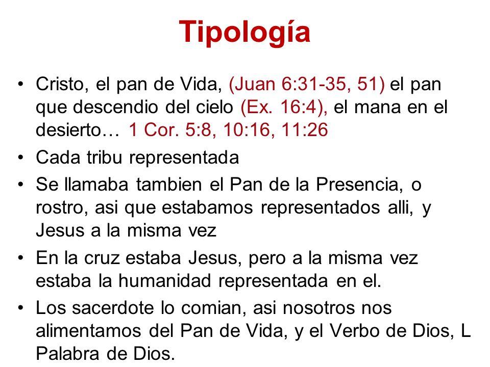 Tipología Cristo, el pan de Vida, (Juan 6:31-35, 51) el pan que descendio del cielo (Ex. 16:4), el mana en el desierto… 1 Cor. 5:8, 10:16, 11:26.