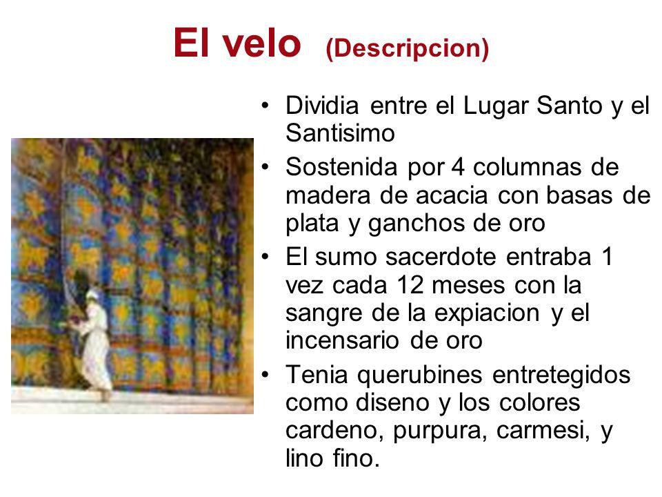 El velo (Descripcion) Dividia entre el Lugar Santo y el Santisimo