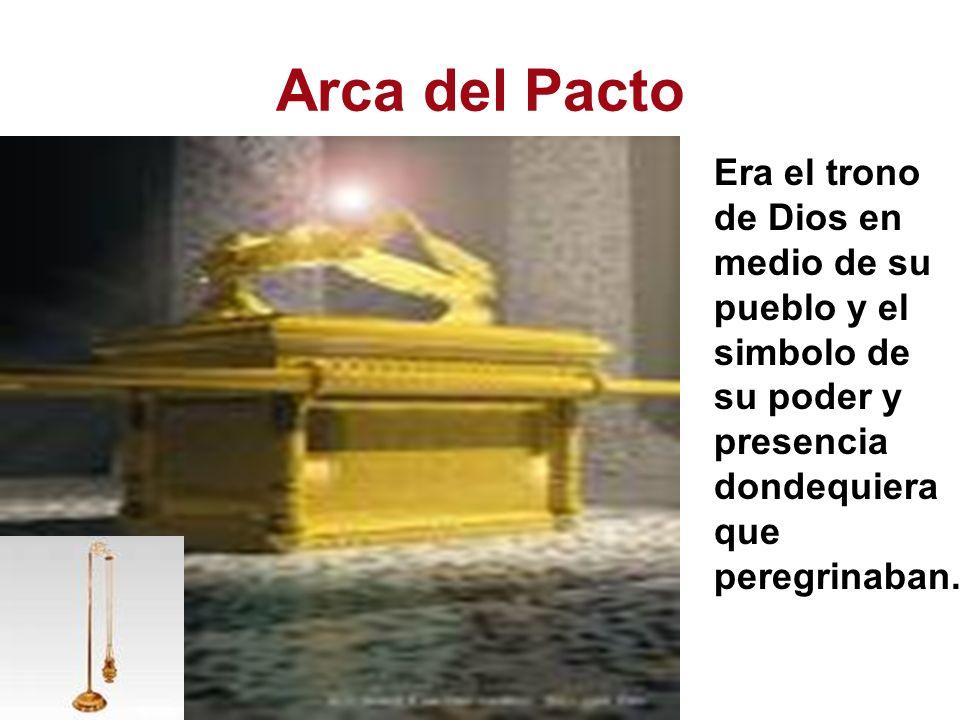 Arca del Pacto Era el trono de Dios en medio de su pueblo y el simbolo de su poder y presencia dondequiera que peregrinaban.