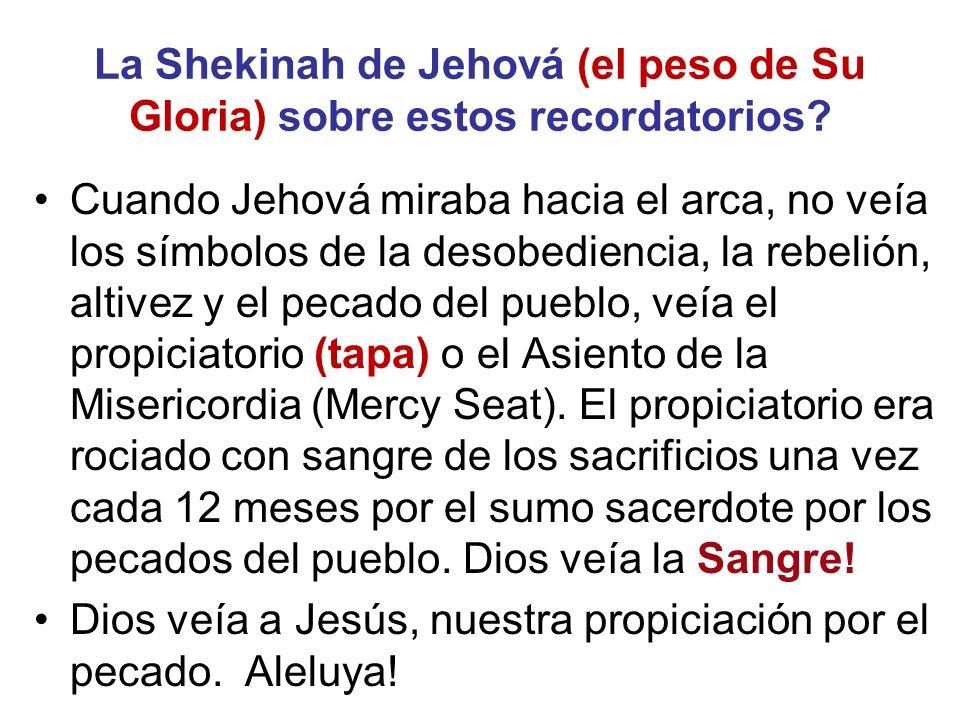La Shekinah de Jehová (el peso de Su Gloria) sobre estos recordatorios
