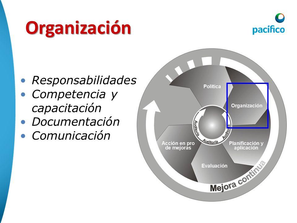 Organización Responsabilidades Competencia y capacitación