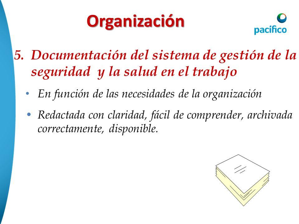 OrganizaciónDocumentación del sistema de gestión de la seguridad y la salud en el trabajo. En función de las necesidades de la organización.