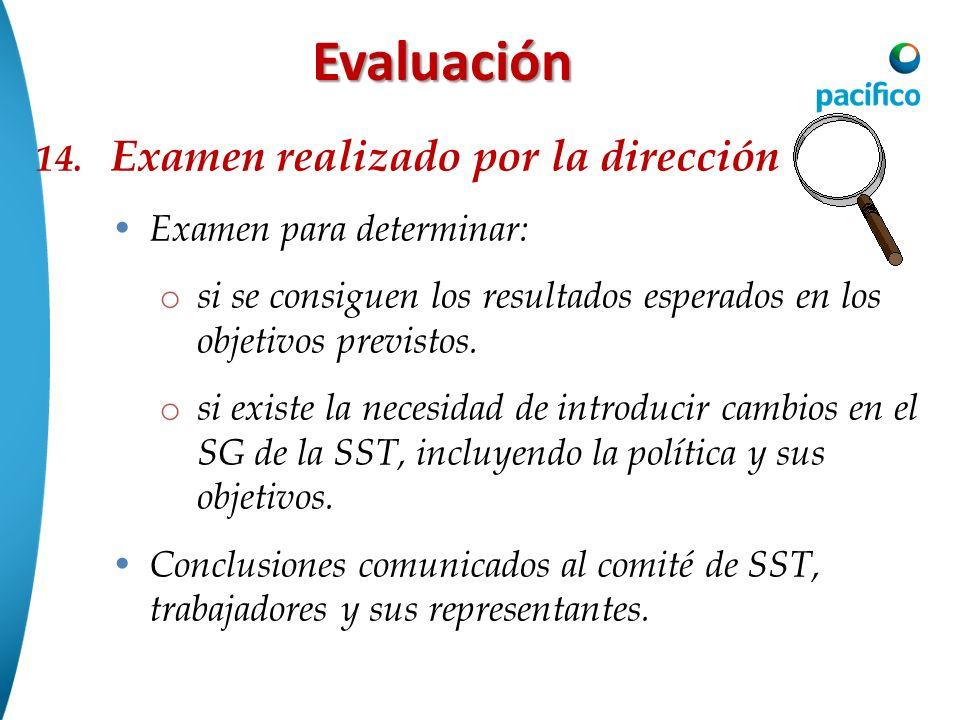 Evaluación 14. Examen realizado por la dirección