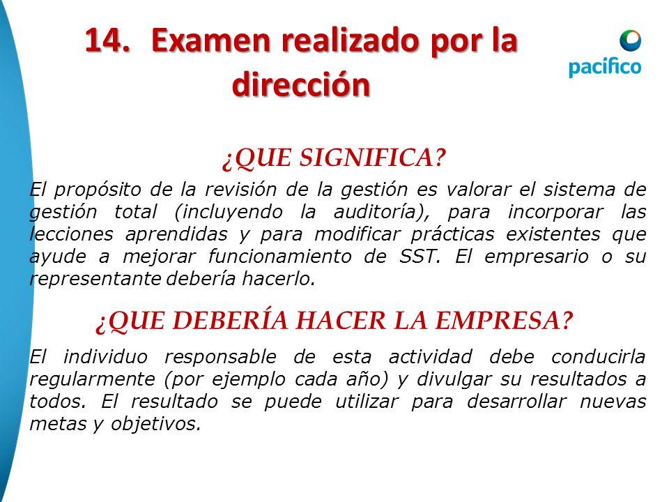 14. Examen realizado por la dirección