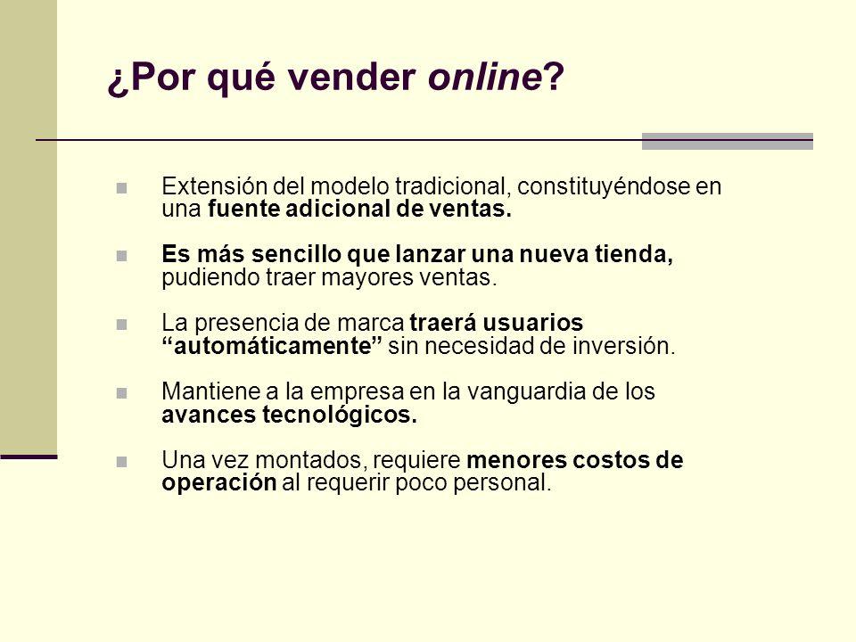 ¿Por qué vender online Extensión del modelo tradicional, constituyéndose en una fuente adicional de ventas.