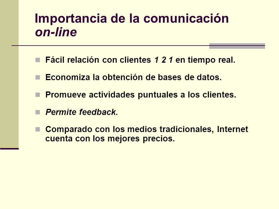 Importancia de la comunicación on-line