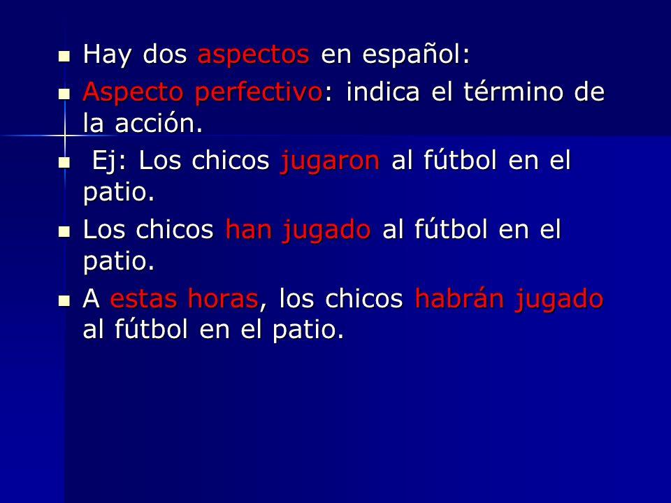 Hay dos aspectos en español: