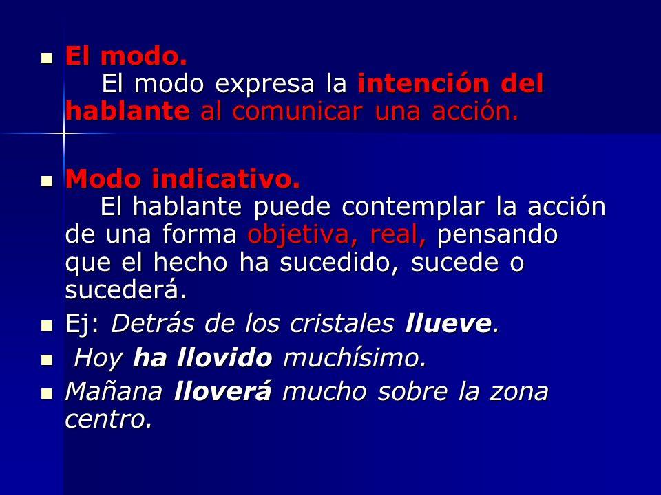 El modo. El modo expresa la intención del hablante al comunicar una acción.
