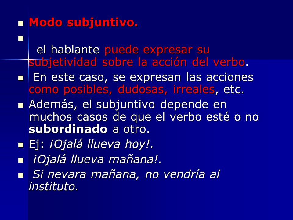 Modo subjuntivo. el hablante puede expresar su subjetividad sobre la acción del verbo.