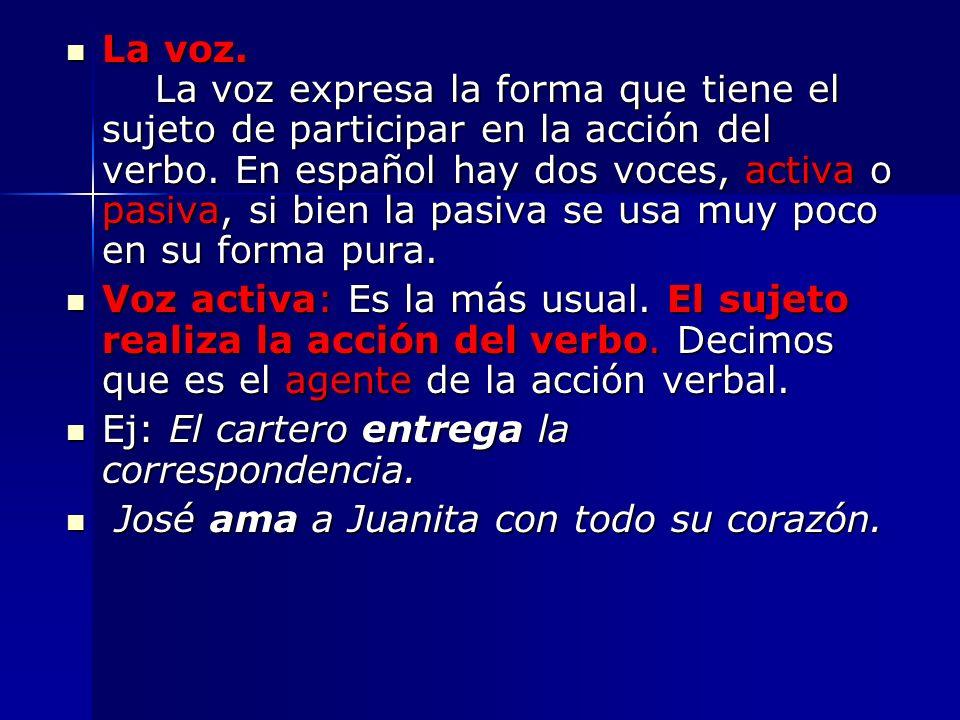 La voz. La voz expresa la forma que tiene el sujeto de participar en la acción del verbo. En español hay dos voces, activa o pasiva, si bien la pasiva se usa muy poco en su forma pura.