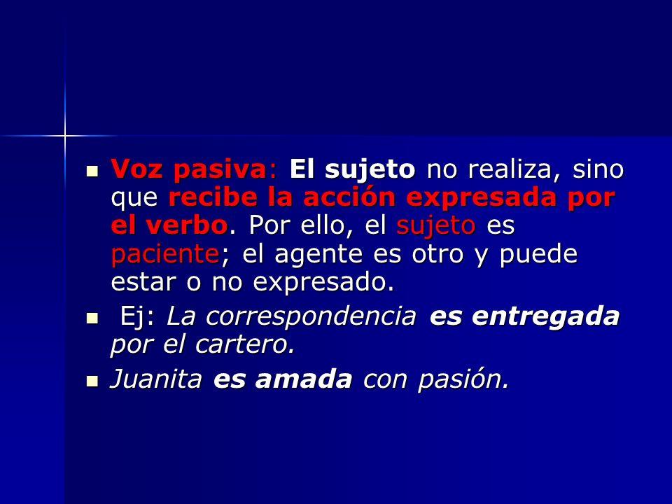 Voz pasiva: El sujeto no realiza, sino que recibe la acción expresada por el verbo. Por ello, el sujeto es paciente; el agente es otro y puede estar o no expresado.