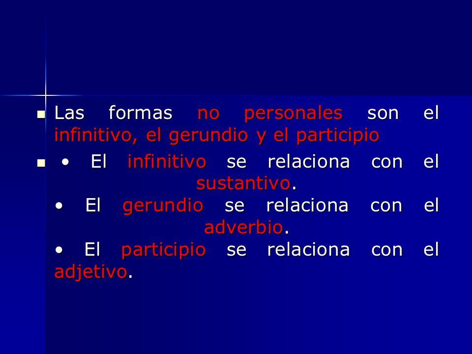 Las formas no personales son el infinitivo, el gerundio y el participio