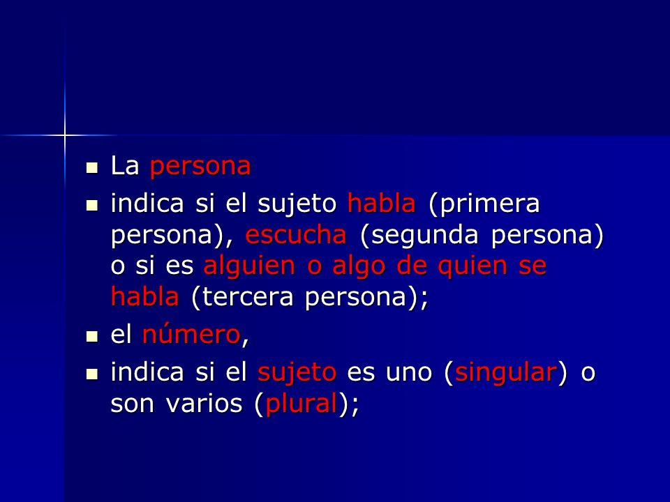 La persona indica si el sujeto habla (primera persona), escucha (segunda persona) o si es alguien o algo de quien se habla (tercera persona);