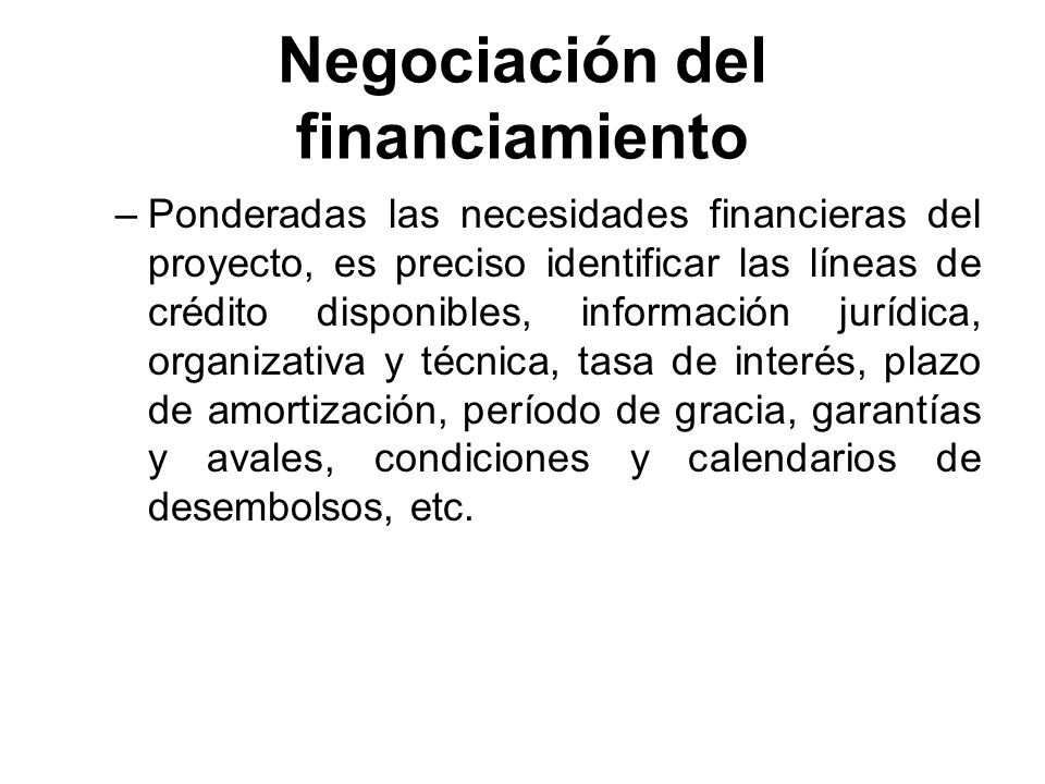 Negociación del financiamiento