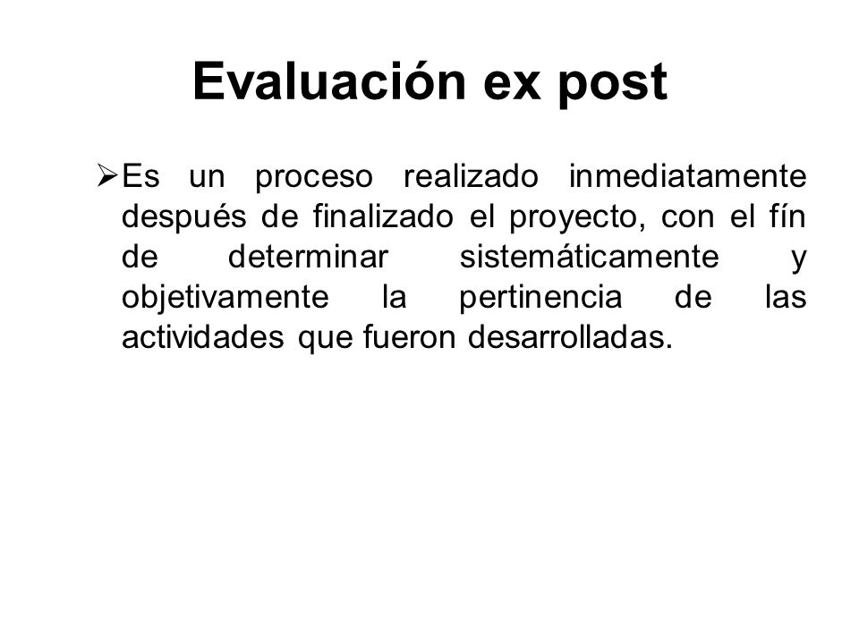 Evaluación ex post
