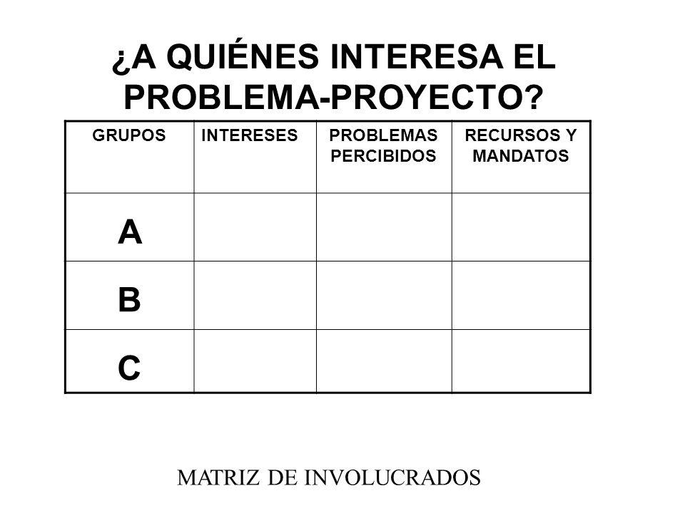 ¿A QUIÉNES INTERESA EL PROBLEMA-PROYECTO