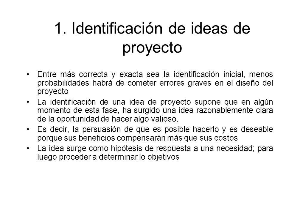 1. Identificación de ideas de proyecto