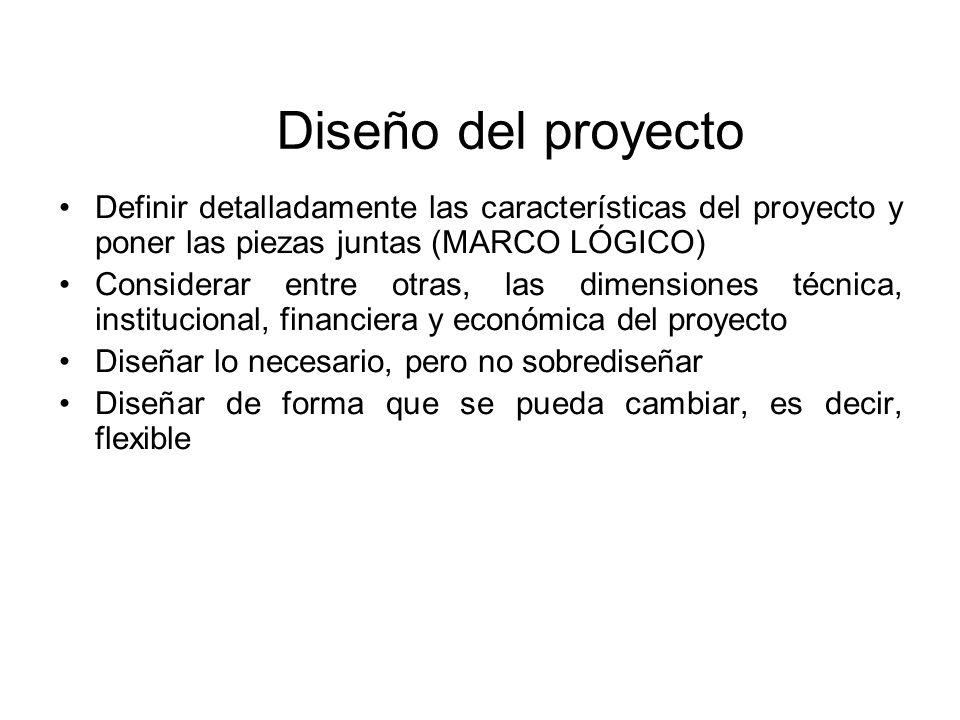 Diseño del proyecto Definir detalladamente las características del proyecto y poner las piezas juntas (MARCO LÓGICO)