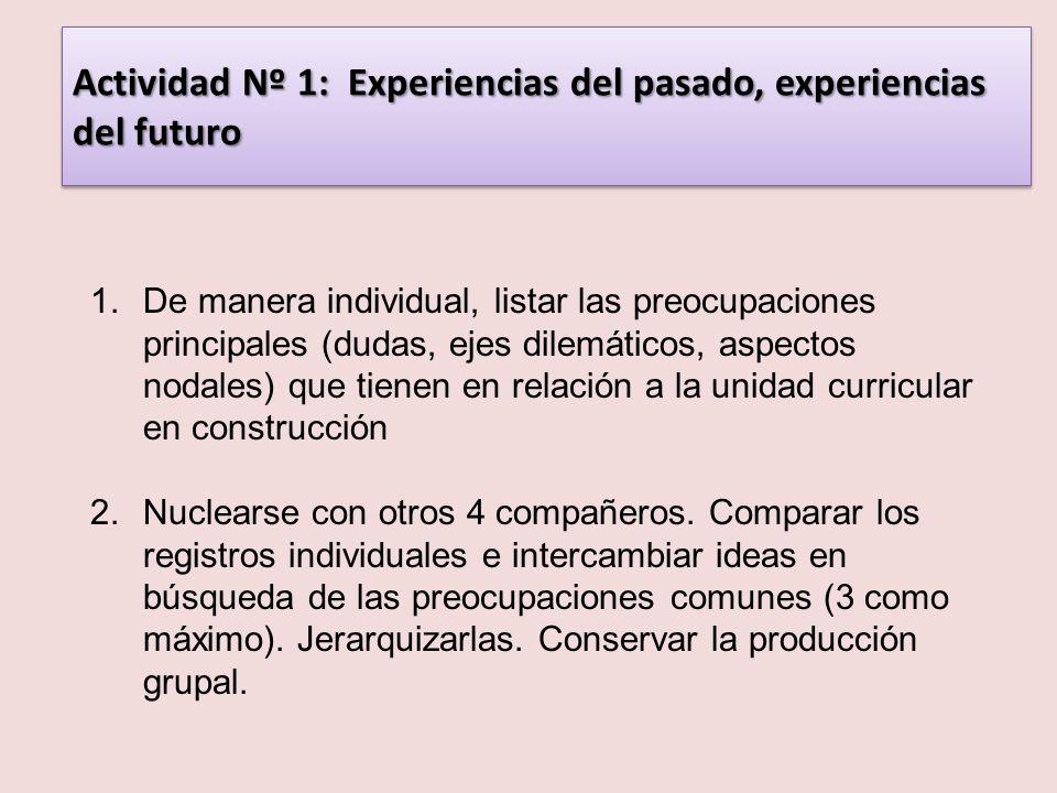 Actividad Nº 1: Experiencias del pasado, experiencias del futuro