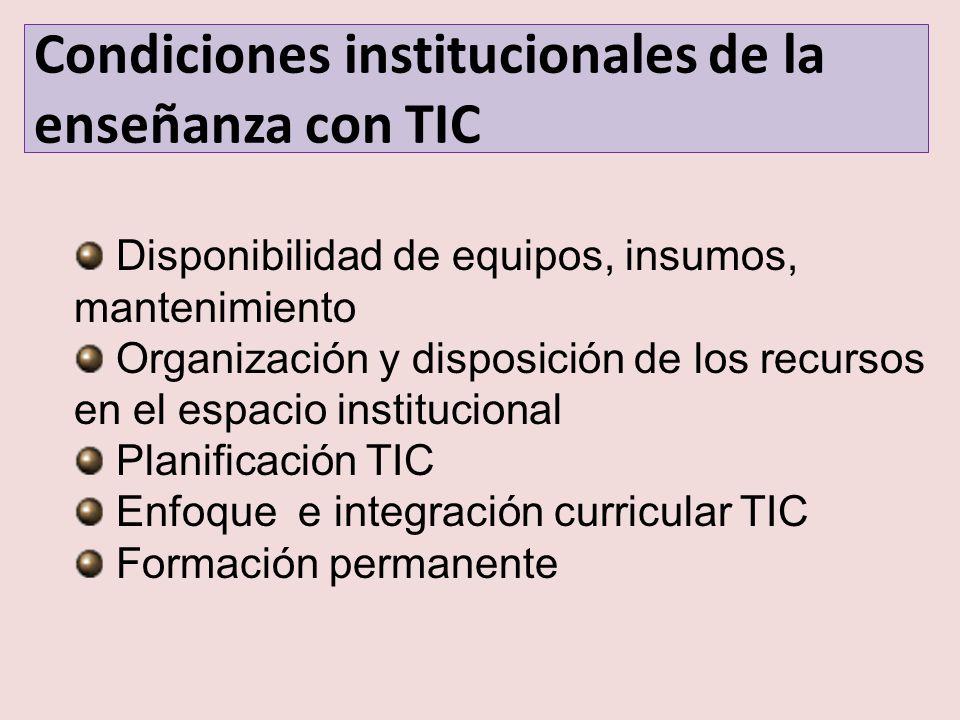 Condiciones institucionales de la enseñanza con TIC