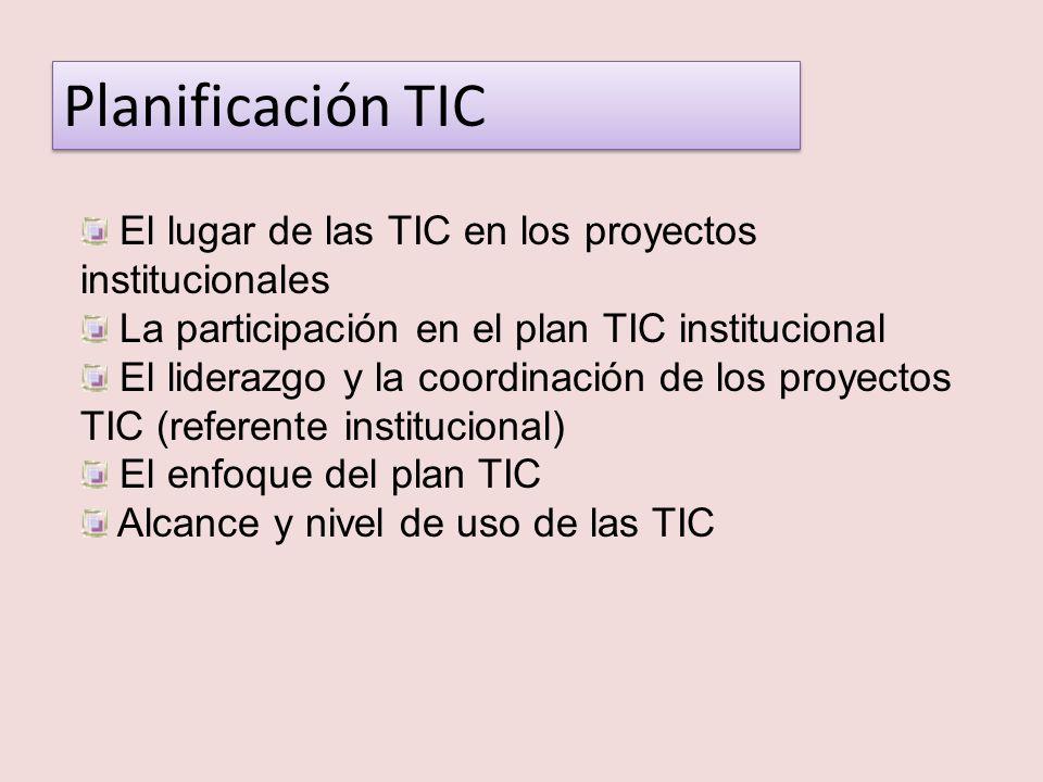Planificación TIC El lugar de las TIC en los proyectos institucionales