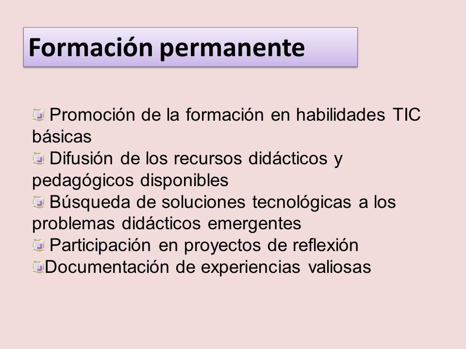 Formación permanentePromoción de la formación en habilidades TIC básicas. Difusión de los recursos didácticos y pedagógicos disponibles.