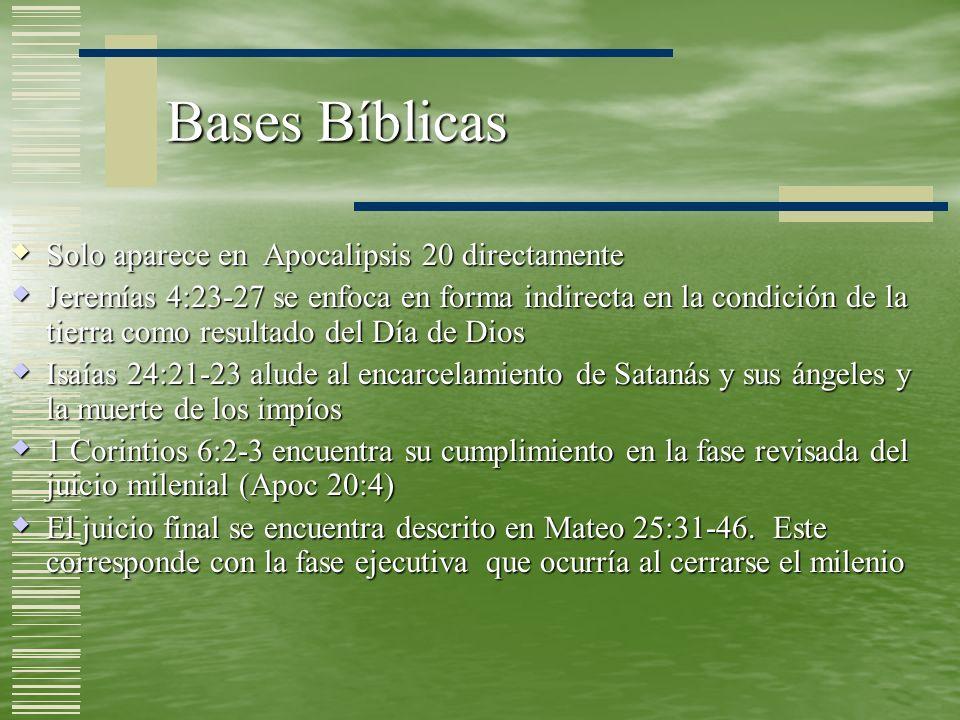 Bases Bíblicas Solo aparece en Apocalipsis 20 directamente