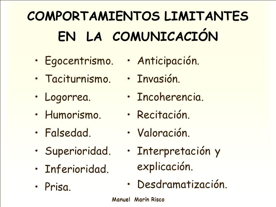 COMPORTAMIENTOS LIMITANTES EN LA COMUNICACIÓN