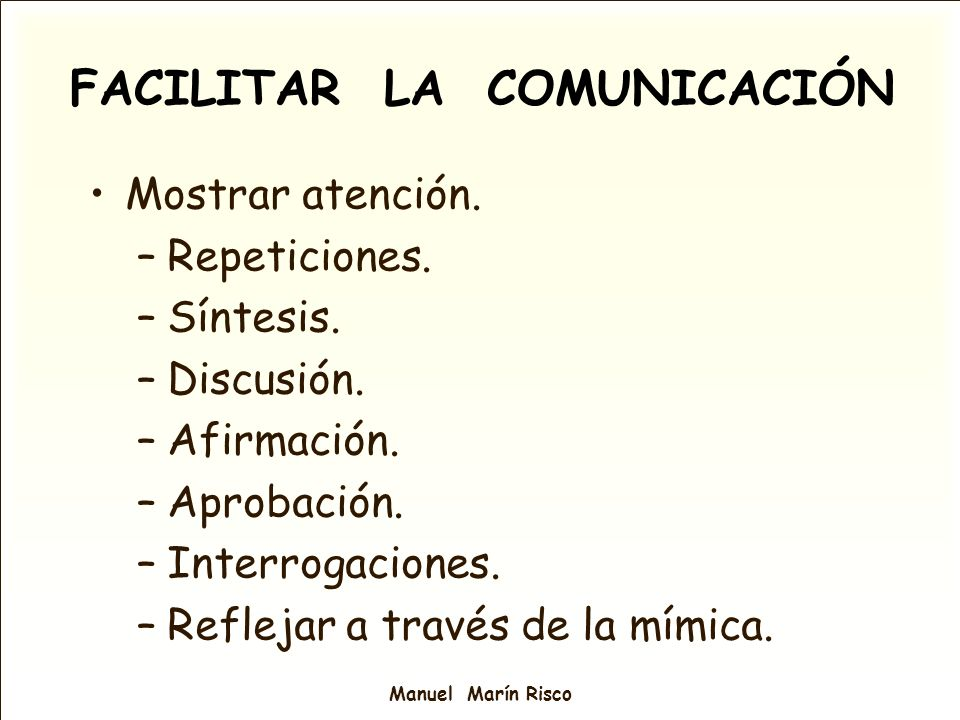 FACILITAR LA COMUNICACIÓN